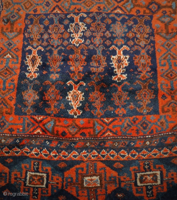 Rare tribal Persian rug, probably Luri, never seen one before, soft wool, warm and bright colours, very good condition with one restauration. It is something special
