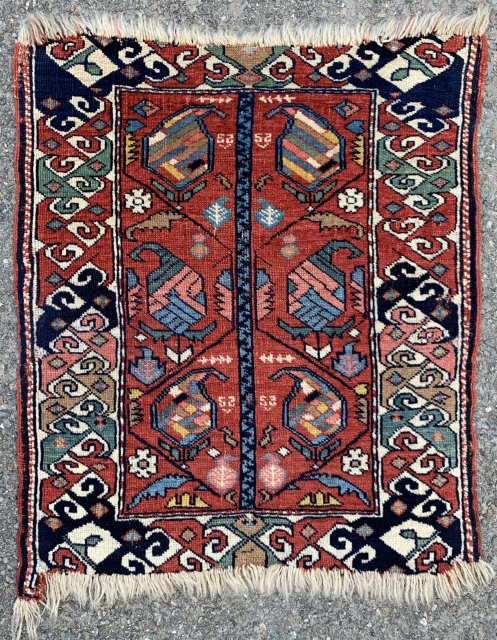 "Very unusual Caucasian mat. Ex-Rare Elements, ex-Rudnick Collection. Now back with me again and for sale. Secured and complete (see lower left corner). Not a bag. Approx. 20"" x 24""."