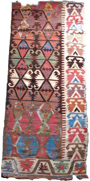 "Anatolian Kilim Fragment, nice old colors and blanket-like handle. 5'6""x2'7"""