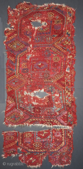 East Anatolian Kurdish divan cover. Red-wefted group with great color including slate blues and greens, salmon, and good. fragmented into three pieces, Older than most.