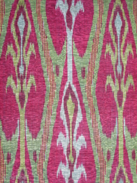 """Central Asian Silk Ikat, blue silk weft, probably Tajik, The panel is conserved and beautifully mounted. 3'x1'6"""""""