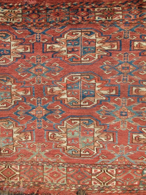 Super Soft Eastern Turkmen Chuval, Kizyl Ayak design but feels more Ersari. Strongly articulated abrash with a multicolored pastel palette at the bottom including purple, several light blues, lemon yellow and sea-greens.  ...