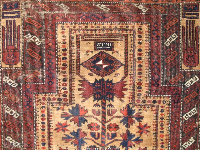 "Crisply drawn Camel Ground Baluch Prayer Rug with elongated stylized hands, depressed warp Khorosan type. a piece from Basha's Baluch Collection. 2'7""x4'7"""