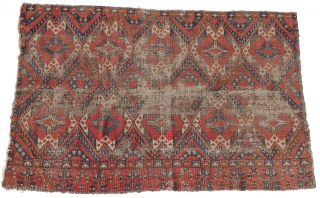 "Blasted but Beautiful Ersari / Middle Amu Darya ikat inspired Central Asian chuval. Rough condition but old and thin with a soulful patina. apx. 57""x37"""