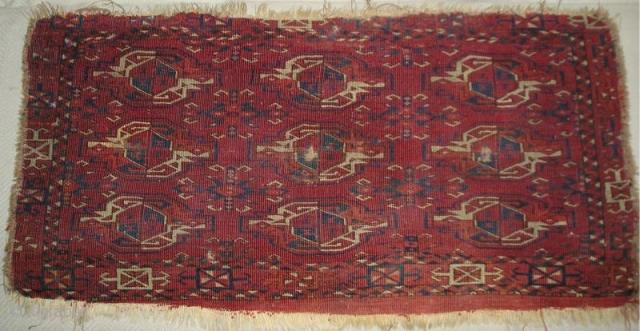 Kizylayak Turkmen bag, 107x56 cm (42\'\'x22\'\') Obvious condition issues but a genuine antique Turkmen piece with all natural colors.