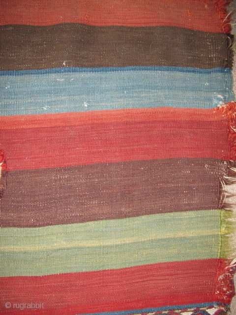 "East Anatolian Striped Kilim Chuval with central bands of sumak. Excellent almost Andean-like handle. 5'3""x3' 160x91cm"