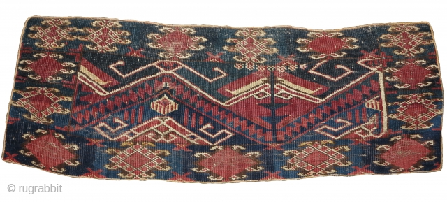 Ersari torba, dynamic drawing and nice colors with a few highlight knots of cochineal silk.  Looks like it was made into upholstery at some point. There is a small patch or  ...