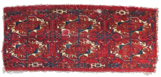 Six Gul Tekke Torba, a nice older honest earlier example with velvety pile, great wool quality, and color. Obvious condition issues. Recently found in Greece.