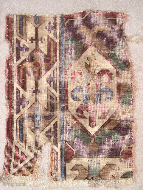 Caucasian Blossom or Dragon Carpet Fragment. Great purple and green and very graphic border (2'0'' x 1'5'')
