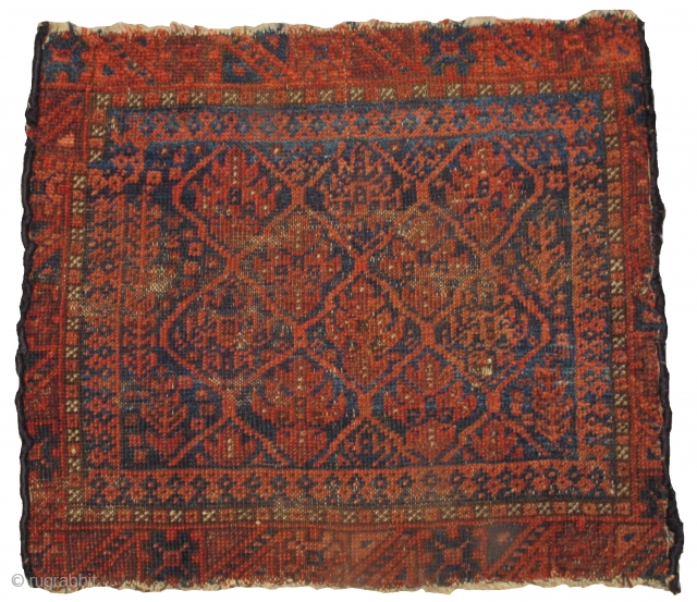"""Baluch shrub bagface with fiery ochre and polychromatic blues. Glossy wool. All great vegetal dyes. 21""""x19"""""""
