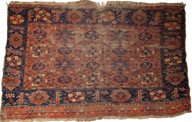 Ersari Minakhani Chuval, an early version of this type with two shades of insect pink, silk,two or three golds, and several shades of blue including a light sky-blue. Great drawing. Thin weave,  ...