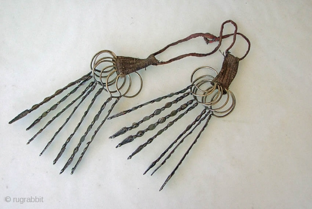 Pashtun Head Ornament, was worn either on the head or as a necklace. Each of the 14 pieces is 19cm long and is made from metal with a low silver content.Afghan/Pakistan Border Region.  ...