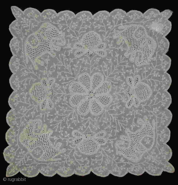 Chikkan Embroidery ---  18x18cm ---  Very fine white cottoncloth (tanzep), embroidered with a white thread --- A special embroidery tradtion from Lucknow, Uttar Pradesh, India --- More pieces in my collection ---  Late 19th century ---  You find  ...