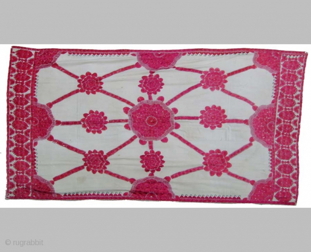 ABOCHINI Shawl for head and shoulders from Sindh, Pakistan 115 x 195 cm Second half 19th century Emboidery with floss-silk on very fine cottonCotton Good Condition      Feel free to ask for more information, for more textiles  ...