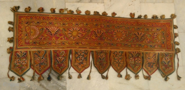 Ethnic Embroidery Rabari Mirror Tribal Tapestry Decor Door Valance Indian Toran  Item Description  The item you just saw is an extraordinary, single of its kind, Vintage Genuine Old and Rare Hand-Embroidered Door/ Window Toran/  ...