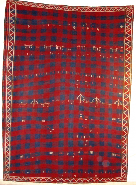 716 This a is a turkish-Verneh (2.48x1.80m)from the kurdis people in east Turkey,in a very good condition made about beginning 20th cent.