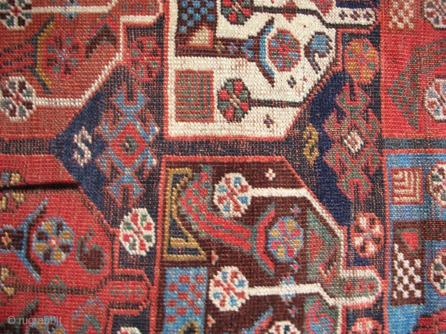 Khamseh rug 6&#039;4&quot;x 3&#039;11&#039; Repiled areas in the indigo field                       