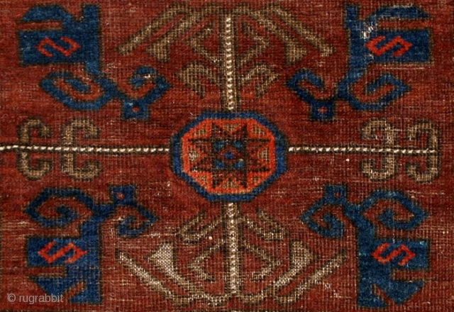Baluch Bag Face, 19th Century, 26 x 33 1/2 inches, Inv# 1449 -------- Classic design with nicely open rectangular medallion surrounded by star octagons. Poised drawing throughout. Rich colors, with a particularly  ...