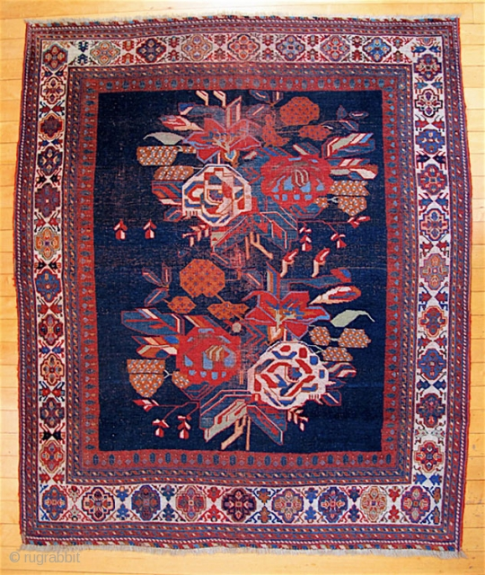 "Afshar,  59"" x 48"" (150cm x 122cm).  Strong natural colors, though not quite so bright as the direct sunlight makes them appear in some of the images. Good condition, except  ..."