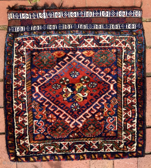 LURI BAG (half khorjin).  Southwest Persian bag, most likely Luri.  Whatever its attribution, it is a great one—colors are rich and bright and all natural, and it has a flatweave  ...