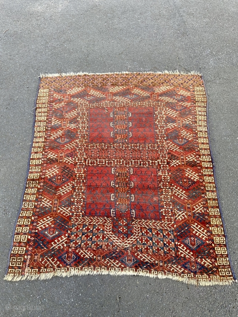 """Turkman ensi - about 55"""" x 47"""" locally sourced New England estate. 'As Found' condition with several old reweaves and repairs and wear.  Nice weave and color saturation."""