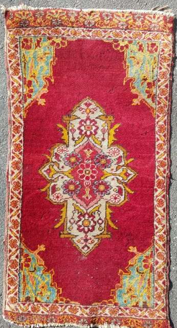 """Anatolian yastik - about 20"""" x 38"""".  As found condition with scattered mothing and slight wear.  Bold color.  $95 or best offer & shipping."""