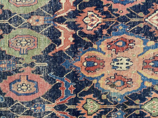 """Bidjar fragment - about 61"""" x 137"""".  As Found.  Great drawing, color, whipped condition.  Looks to be center section of resized carpet of large proportions."""
