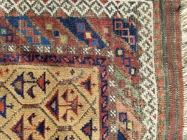 """Baluch - about 31"""" x 56"""".  Camel field and colorful.  evenly worn.  $350 USD or best offer + ship"""