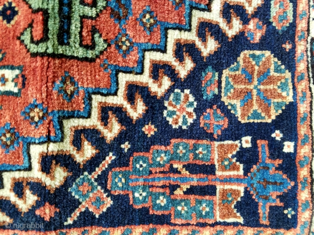 """sw Persian qash'qai bagface - almost square 21"""" x 22"""".  Nice condition with good pile and wool quality with small traces of silk."""