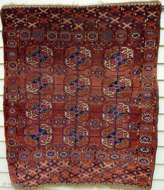 "Tekke wedding rug - approximately 48"" x 41"", great proportions, even wear, couple scattered moth nibbles, interesting skirt embellishments."