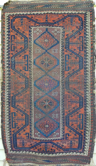 "Baluch - about 34"" x 59"".  Great 'boat border, nice use of ivory, purple and blues. As found with wear and side selvage unravelling."