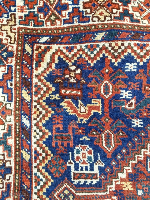 "SW persian about 3'9"" x 5'1"".  Nice graphics having double medallion design with loads of animals and birds.  Evenly low pile, curled corners at opposite ends, and no repairs."