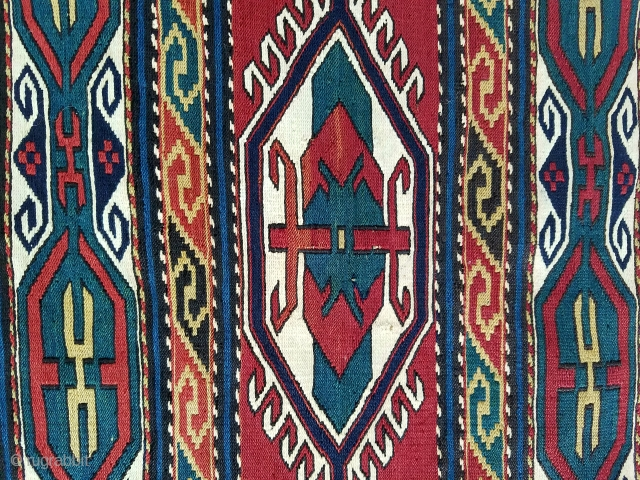 """shahsavan soumak side panel - about 42"""" x 19"""".  Great color. Fine weave.  Some scattered small repairs. $290/Best Offer"""