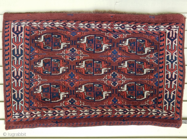"""Yomut chuval - about 42"""" x 27"""". Nice color,wool,and condition."""