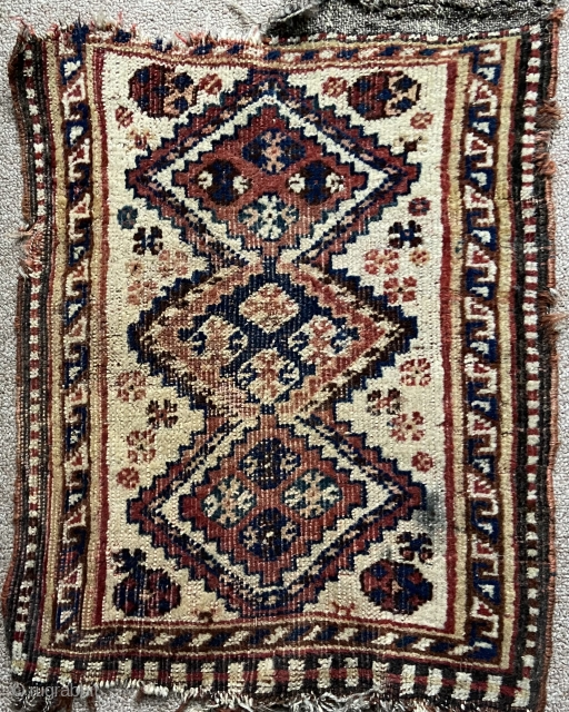 """Southwest Persian - kamseh perhaps.  About 14"""" x 20"""". Nice ivory field and retains some of original end finishes.  'As found' and would benefit from bath."""