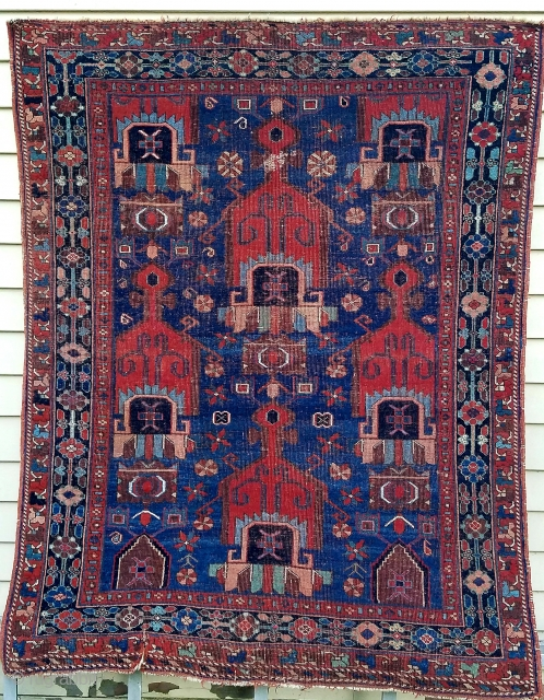 Afshar- about 5.2 x 4.1 evenly worn with great color and design. Minor tear lower left into secondary.