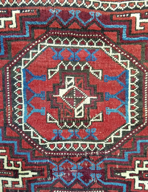 Baluch - about 4.11 x 3 beautiful color including nice blues and green.  Interesting gul format with small animal grouping.  Central wear and some old crude repairs to kilim ends  ...