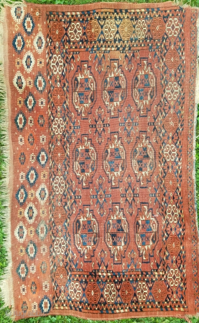 Turkman chuval as found condition.  Some edge gouges and slight stain. Wonderful skirt embellishment, nice weave, supple handle, nice color.  Would benefit from wash.