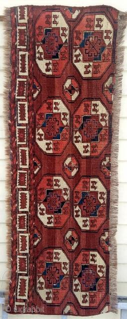 "Turkman main carpet fragment - nice example.  about 58"" x 20""."