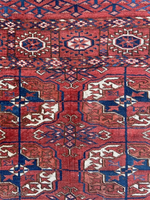 """'Wedding' rug about 37"""" x 38"""". Exquisite color, stiff handle, uncommon six gul and interesting skirts.  Sides not original, ends overcast, evenly low."""