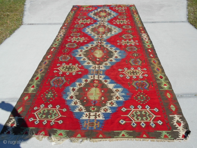 68X159.5inch Semi Antique Turkish Kilim  5.8X13.4ft Good condition Clean colors PayPay and Free ship USA lower 48