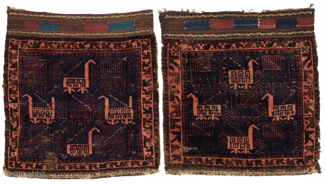 A pair of Baluch Bird Bag Faces, late 19th century.  1-11 x 2-2 ft.