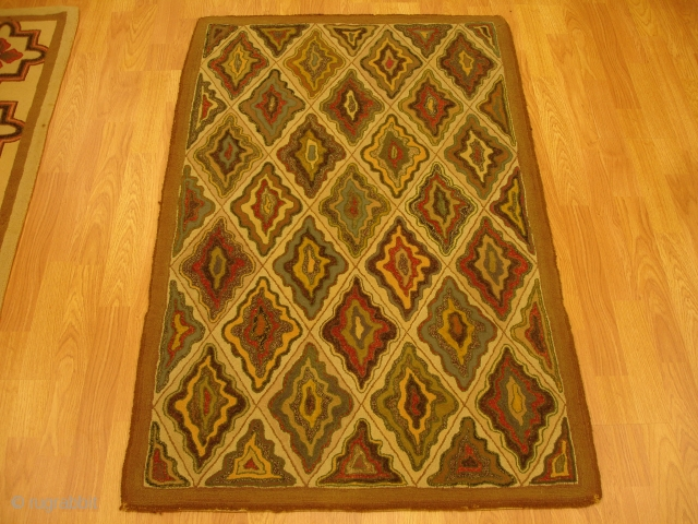 2&#039; 9&#039;&#039; x 4&#039; 4&#039;&#039; - c. 1910 - American Hook Rug - $900                   