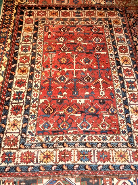 Here is a late 19th century eastern caucasian rug that has a design much more interesting than those that are older and more highly regarded .  Some collectors say only 170  ...