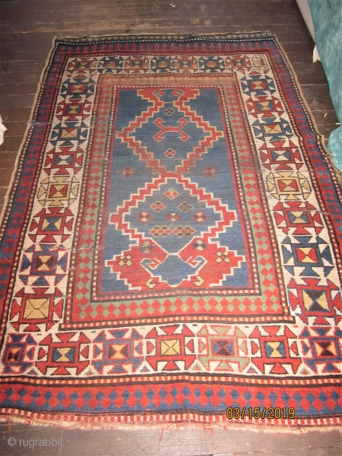 EBAY NOW FOR CHEAP!!OLD KAZAK WITH ALL GOOD NATURAL DYES AND 4 X 6 FT SIZE $450 DECENT PILE - ONE SEWN TEAR