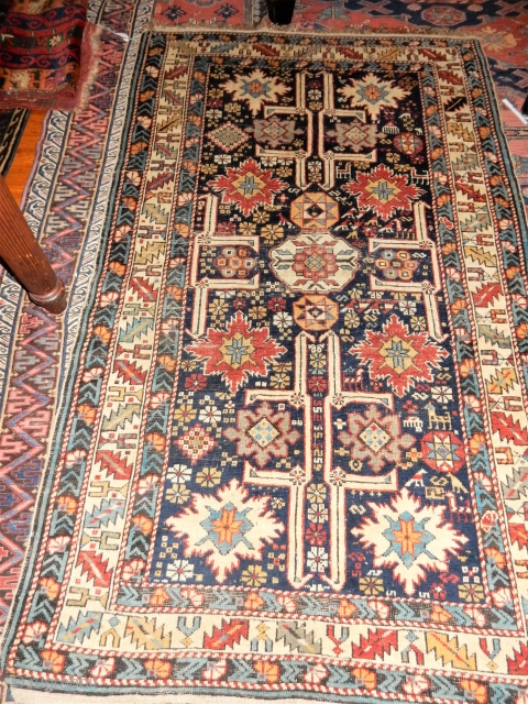 EXCELLENT PLUS ORIGINAL CONDITION SHIRVAN WITH ANIMALS AND COMPLETE SIDES AND KNOTTED ENDS