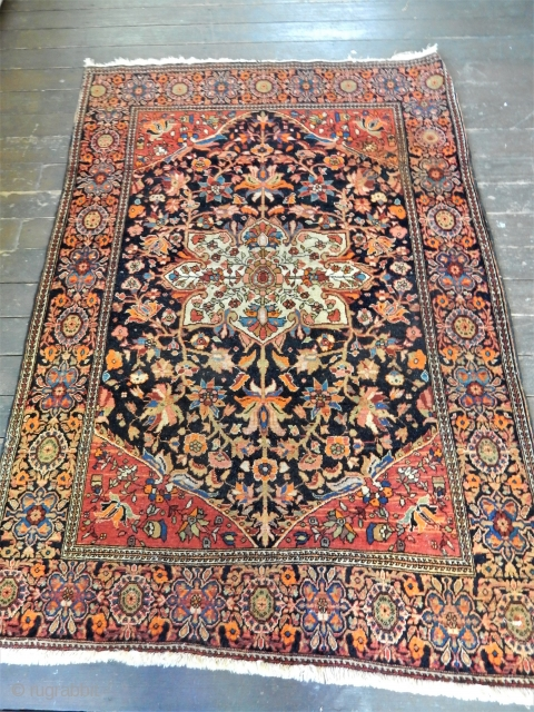 FROM AN ESTATE-SUPERB ORIGINAL CONDITION- 3 X 5 FT FEREGHAN SAROUK - FULL PILE - NOTE THE ORANGE DYE -