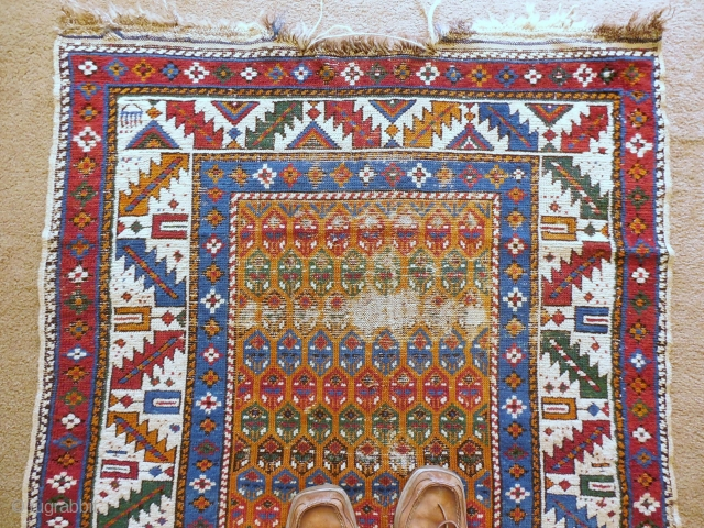 CAUCASIAN RUG 3 X 4 FT WITH WEAR AND GOOD DYES - $175