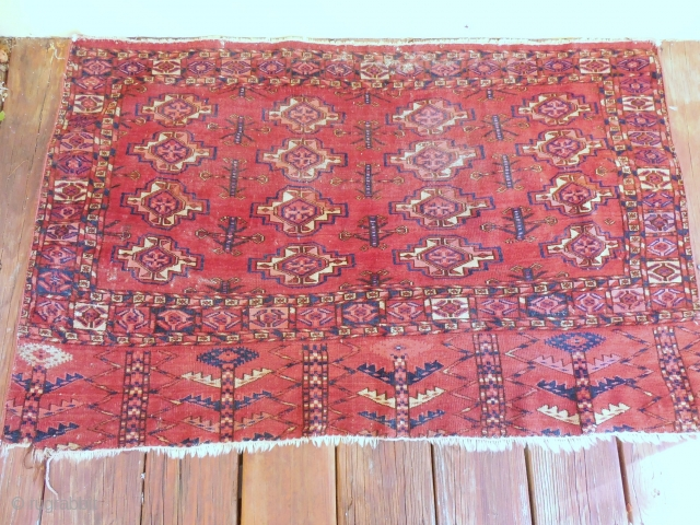 TEKKE TURKOMAN CHUVAL . GOOD AGE WITH SOME WEAR . NEEDS A GOOD WASHING . ALL GOOD COLORS.