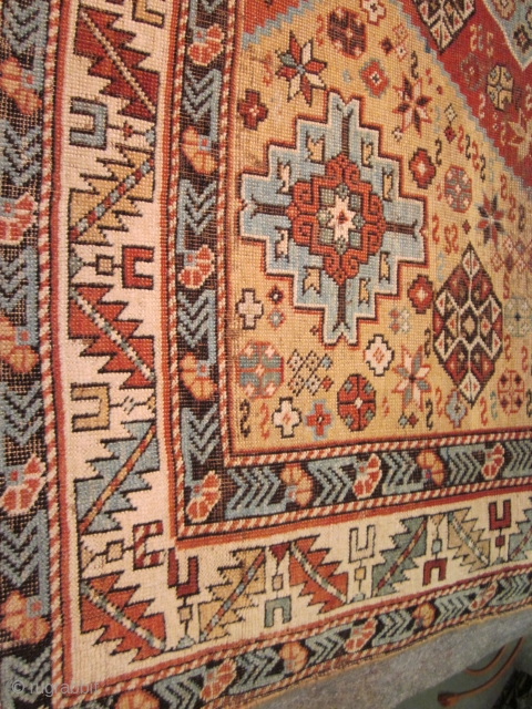 SUPERIOR EAST CAUCASIAN DESIGN- SQUARE SIZE 4 X 4 FT-ORIGINAL AS FOUND WITH COMPLETE ENDS AND SIDES- SOME WEAR IN THE CENTER-$2000. OR BEST OFFER